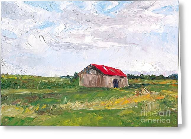 The Red Roof Greeting Card by Michael Martin