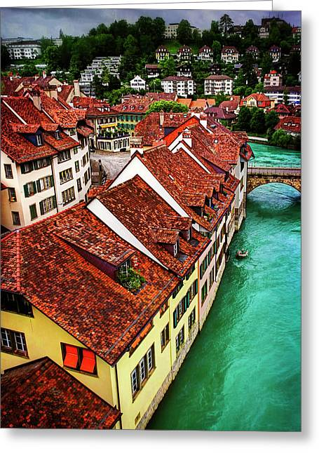 The Red Rooftops Of Bern Switzerland  Greeting Card by Carol Japp