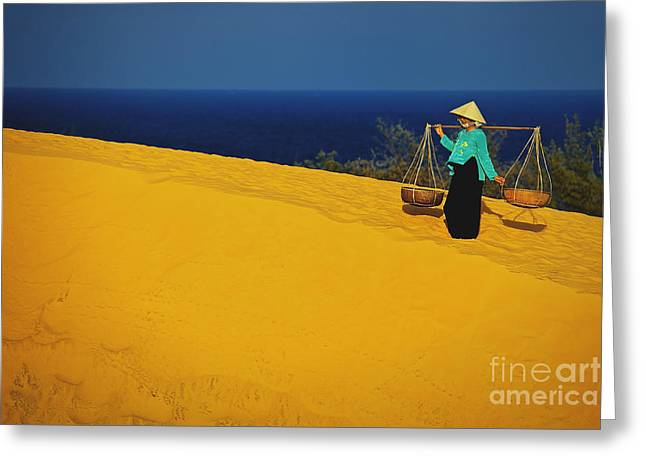 The Red San Dunes Of Mui Ne Vietnam Greeting Card