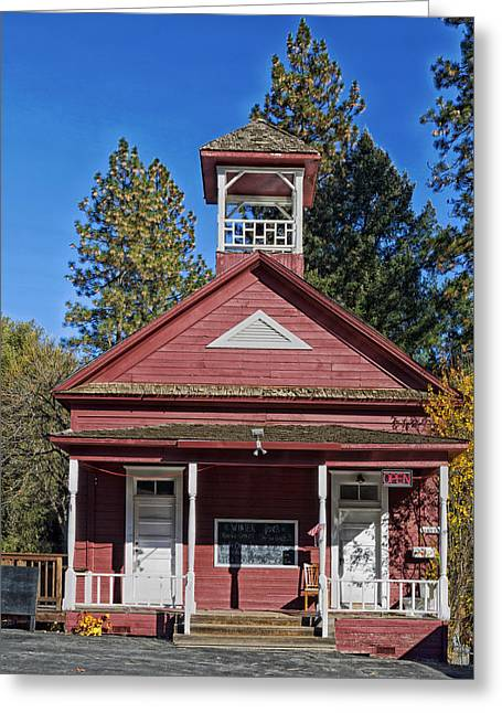 The Red Schoolhouse Greeting Card by Mountain Dreams