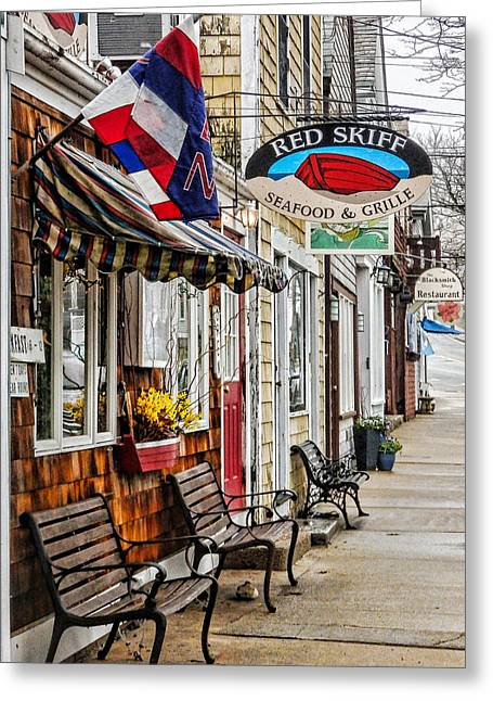 The Red Skiff In Rockport Ma Greeting Card