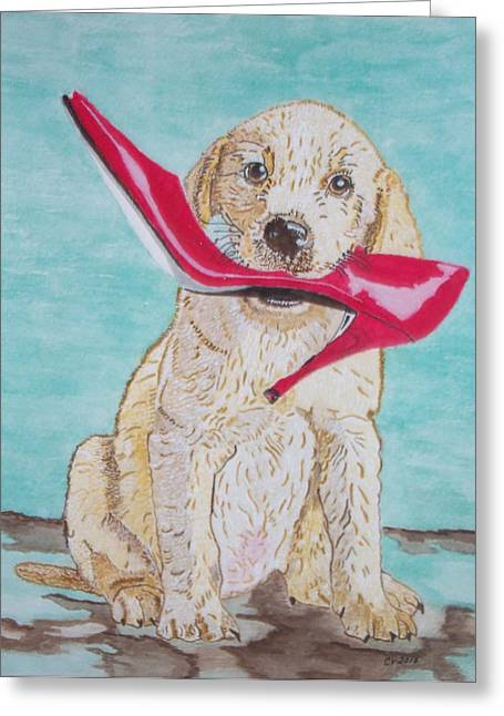The Red Slipper  Greeting Card by Connie Valasco