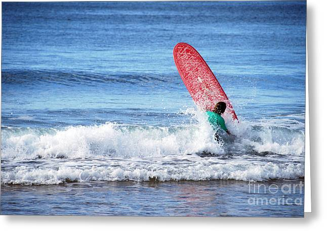 The Red Surfboard Greeting Card by Joe Scoppa