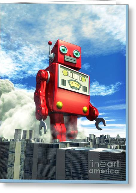 The Red Tin Robot And The City Greeting Card by Luca Oleastri