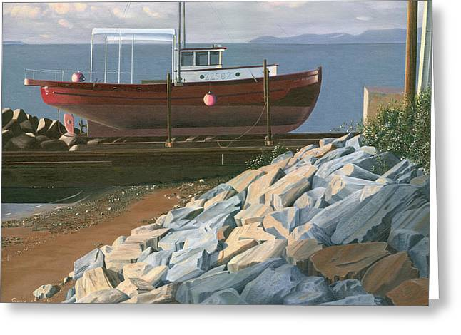 Greeting Card featuring the painting The Red Troller Revisited by Gary Giacomelli