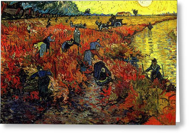 Greeting Card featuring the painting The Red Vineyard At Arles by Van Gogh