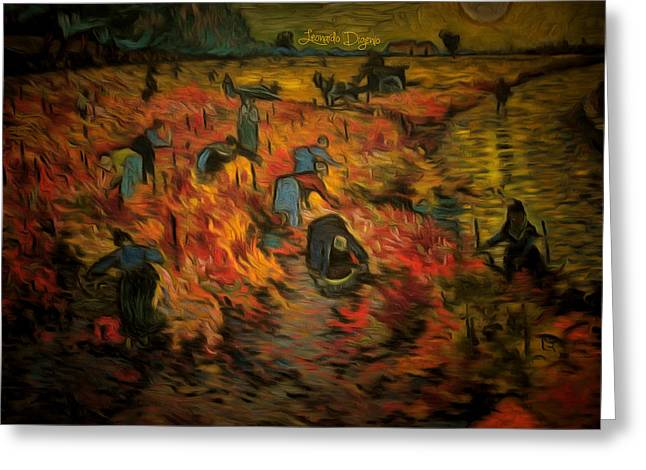The Red Vineyard By Van Gogh Revisited Greeting Card by Leonardo Digenio