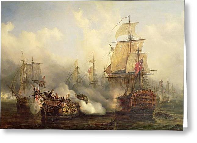 Ships And Boats Greeting Cards - The Redoutable at Trafalgar Greeting Card by Auguste Etienne Francois Mayer