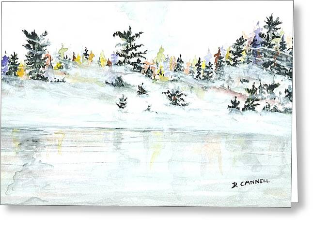 Greeting Card featuring the painting The Reflection Lake by Darren Cannell