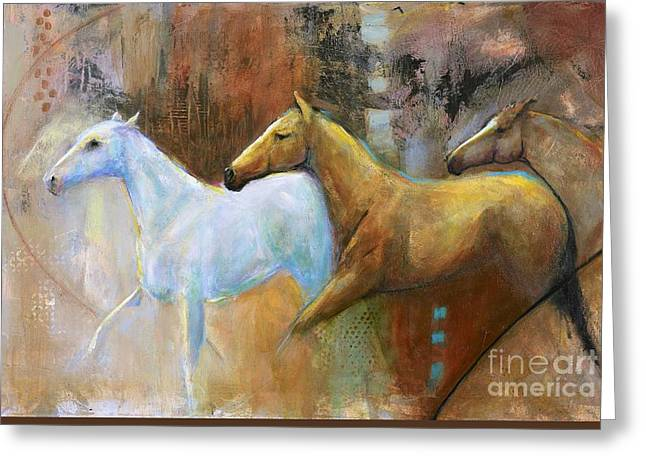 The Reflection Of The White Horse Greeting Card by Frances Marino