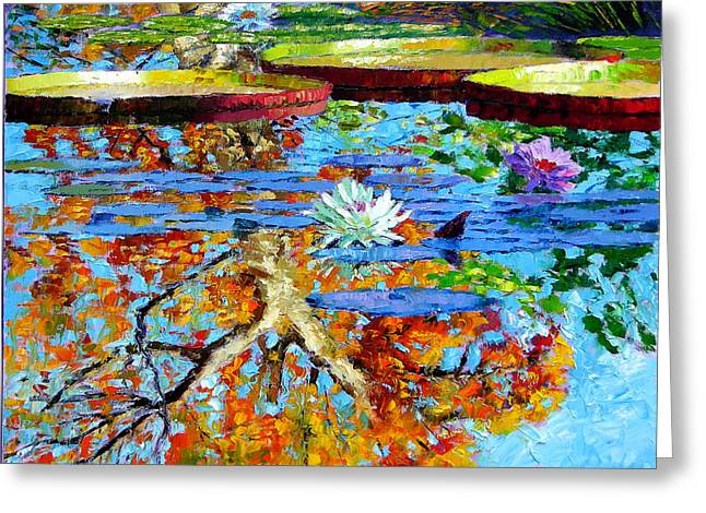 Colors Of Fall Greeting Cards - The Reflections of Fall Greeting Card by John Lautermilch