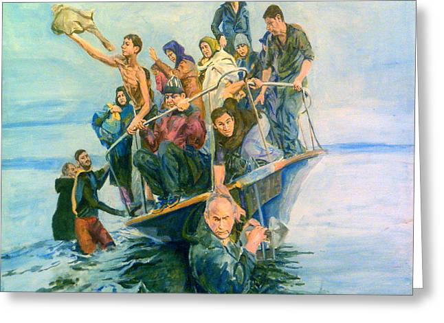 The Refugees Seek The Shore Greeting Card