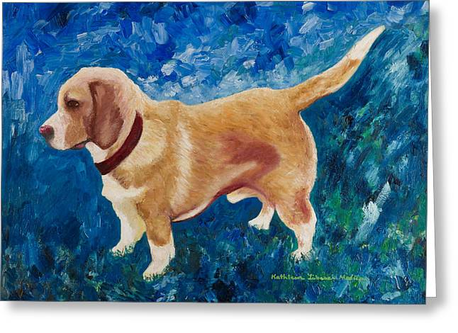 Greeting Card featuring the painting The Regal Beagle by KLM Kathel