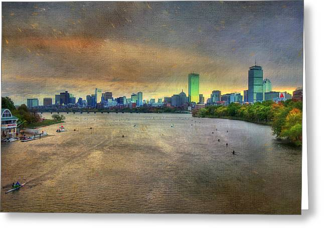 Greeting Card featuring the photograph The Regatta - Head Of The Charles - Boston by Joann Vitali