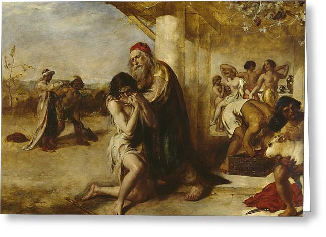 The Repentant Prodigal's Return To His Father Greeting Card by William Etty