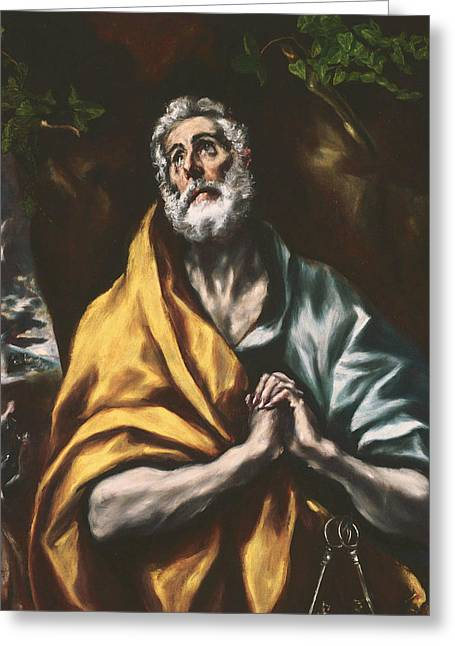 The Repentant St. Peter Greeting Card by El Greco