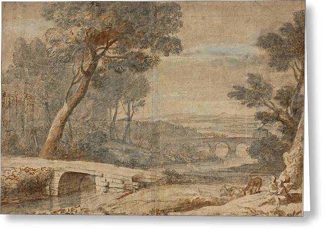 The Rest On The Flight Into Egypt Greeting Card by Follower of Claude Lorrain