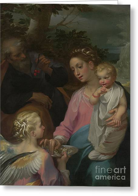 The Rest On The Flight Into Egypt Greeting Card by Francesco Vanni