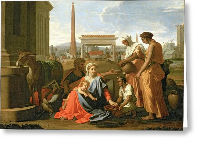 Poussin; Nicolas (1594-1665) Greeting Cards - The Rest on the Flight into Egypt Greeting Card by Nicolas Poussin