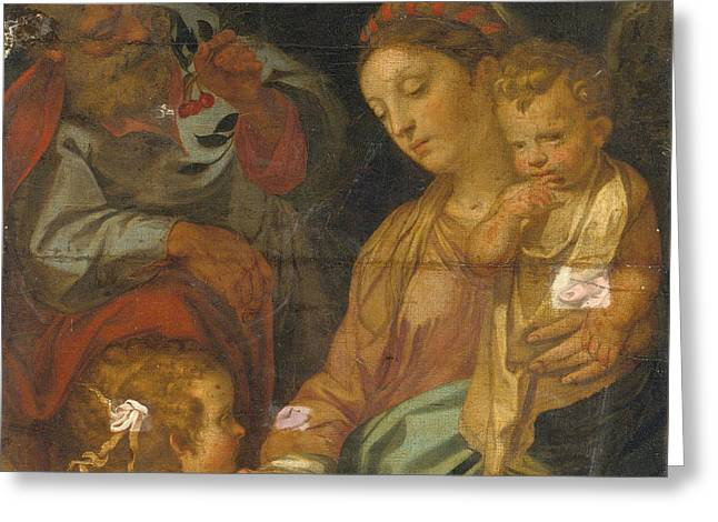The Rest On The Flight Into Egypt. The Madonna Della Pappa Greeting Card