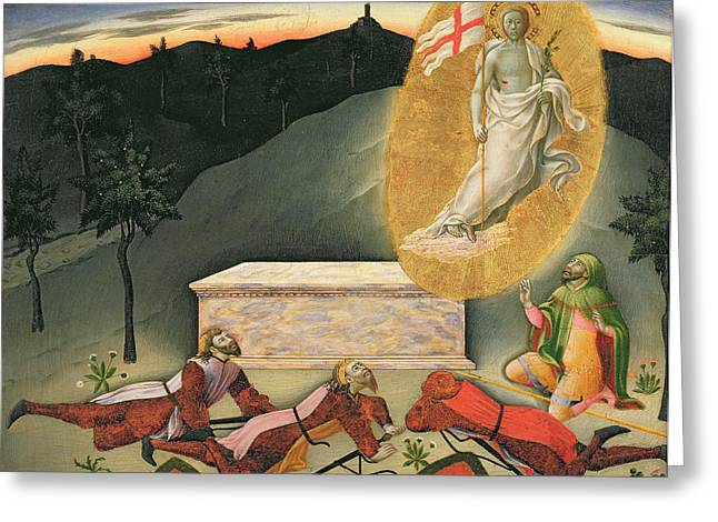 The Masters Greeting Cards - The Resurrection Greeting Card by Master of the Osservanza