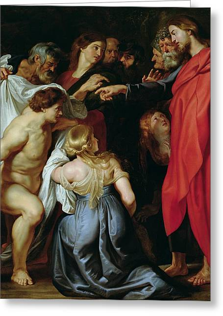 Peter Paul (1577-1640) Greeting Cards - The Resurrection of Lazarus Greeting Card by Rubens