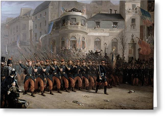 The Return Of The Troops To Paris From The Crimea Greeting Card