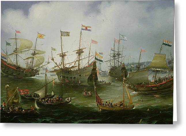 The Return To Amsterdam Of The Second Expedition To The East Indies Greeting Card by Andries van Eertvelt