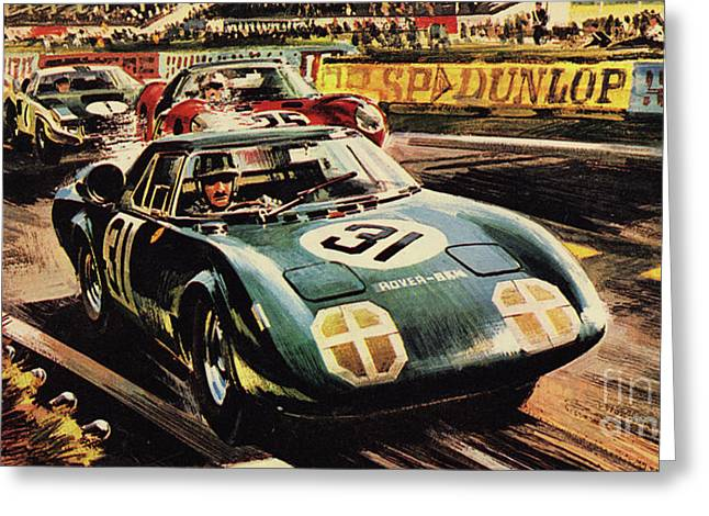 The Revolutionary Rover Brm At The Famous Le Mans Racing Track In 1963 Greeting Card