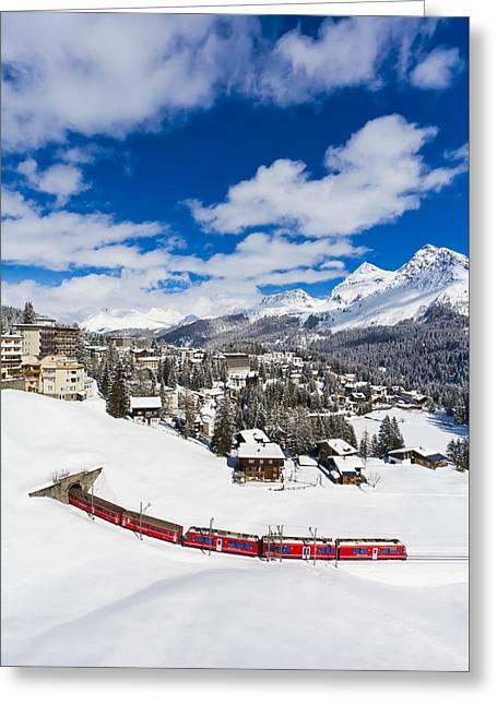 The Rhaetian Railway In Arosa Greeting Card