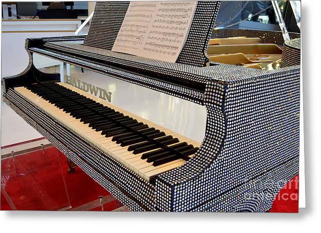 The Rhinestone Piano Greeting Card by Mary Deal