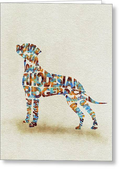 The Rhodesian Ridgeback Dog Watercolor Painting / Typographic Art Greeting Card