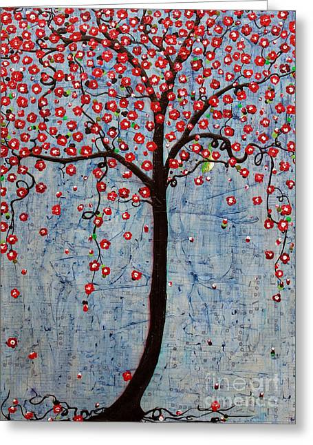 Greeting Card featuring the painting The Rhythm Tree by Natalie Briney