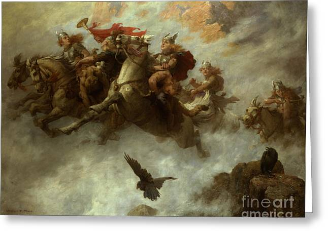 The Ride Of The Valkyries  Greeting Card by William T Maud