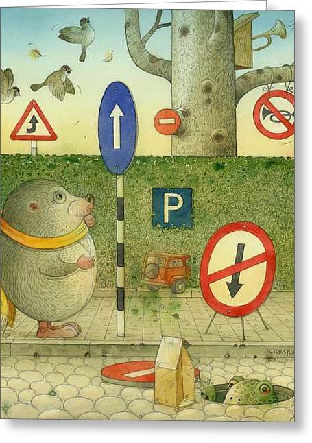 The Right-hand Hedgehog 02 Greeting Card by Kestutis Kasparavicius