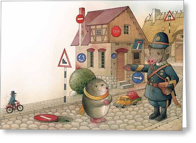 The Right-hand Hedgehog Greeting Card by Kestutis Kasparavicius