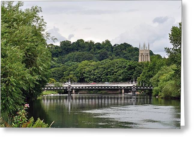 The River And Bridges At Burton On Trent Greeting Card