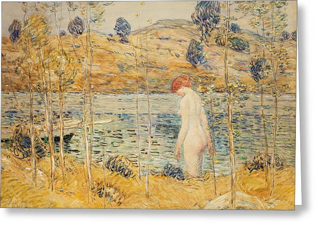 The River Bank Greeting Card by Childe Hassam