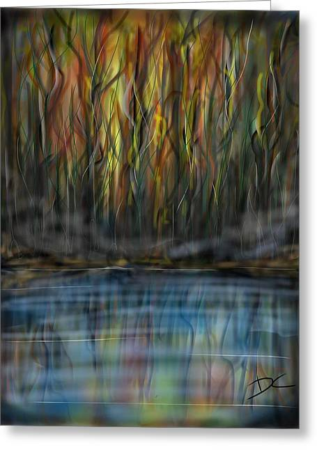 Greeting Card featuring the digital art The River Side by Darren Cannell