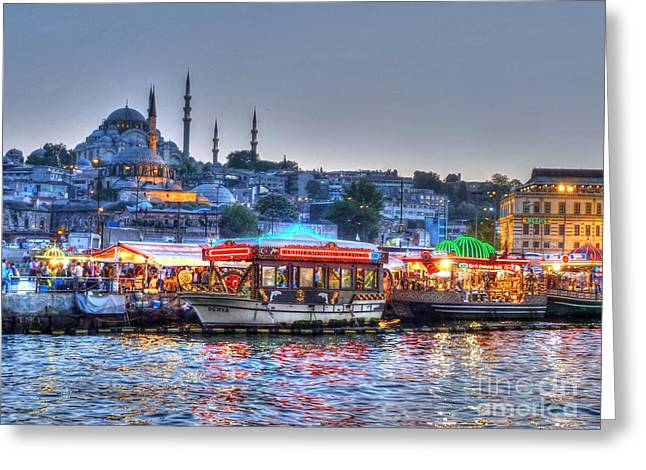 The Riverboats Of Istanbul Greeting Card by Michael Garyet