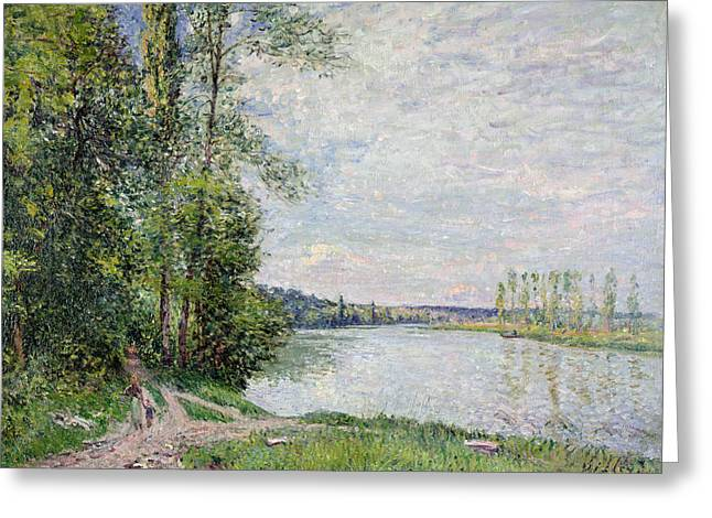 The Riverside Road From Veneux To Thomery Greeting Card by Alfred Sisley