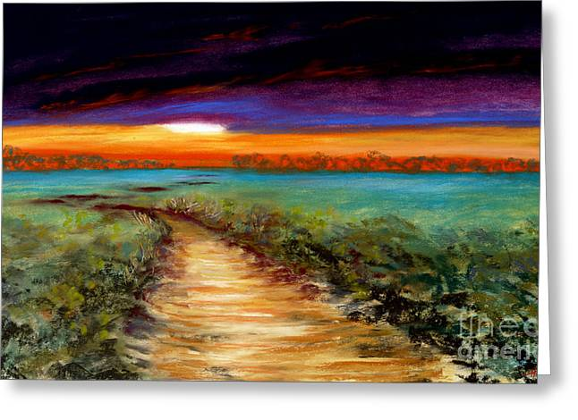 Vibrant Green Pastels Greeting Cards - The Road Home Greeting Card by Addie Hocynec
