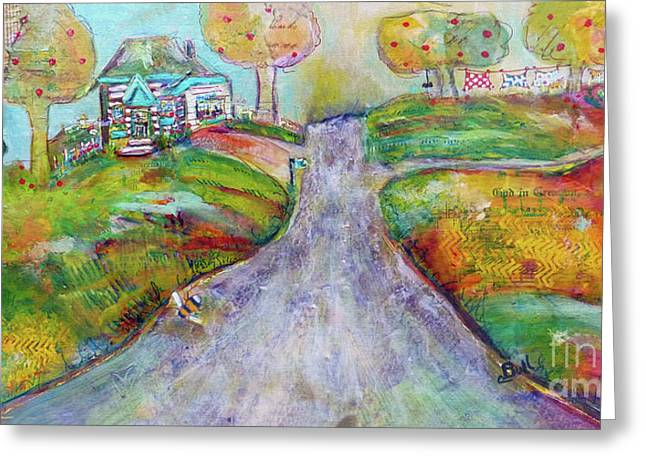 Greeting Card featuring the painting The Road Home by Claire Bull