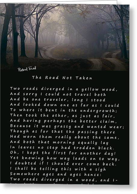 The Road Not Taken Poem By Robert Frost Greeting Card