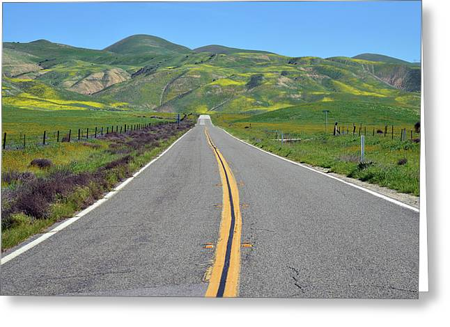 The Road To Carrizo Plain Greeting Card by Kathy Yates