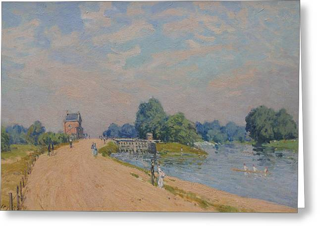 The Road To Hampton Court Greeting Card by Alfred Sisley
