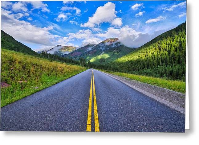 Greeting Card featuring the photograph The Road To Maroon Lake by Photography By Sai