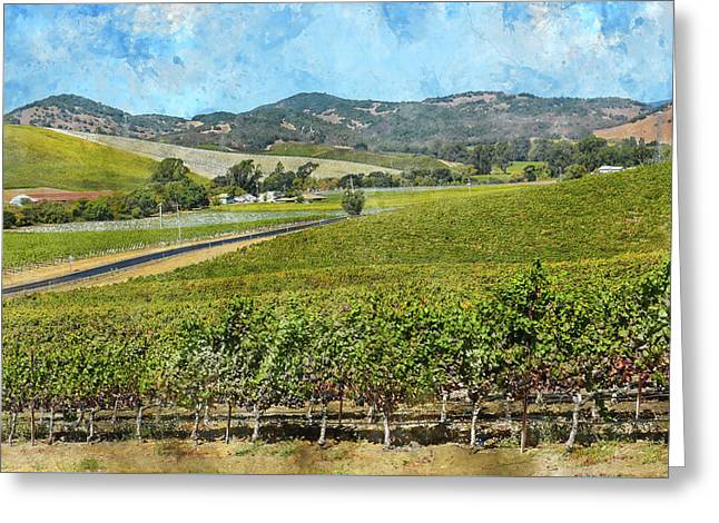 The Road To Napa Valley Vineyard Greeting Card by Brandon Bourdages