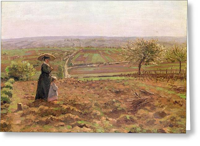 The Road To Rouen Greeting Card by Camille Pissarro
