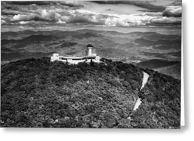 The Road Up To Brasstown Bald In Black And White Greeting Card